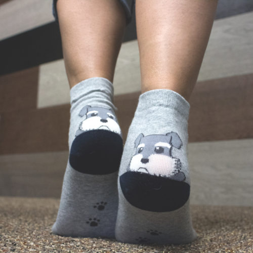 Grey Argyle Puppy Socks