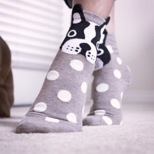 Brown White Polka Dot Dog Socks