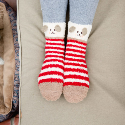 Fuzzy Red Stripes Doggy Socks