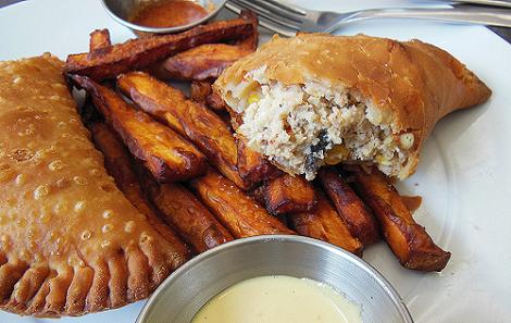 Pollo Empanada and Sweet Potato Fries