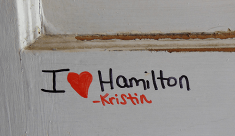 I signed the door at Hamilton's Green Cottage