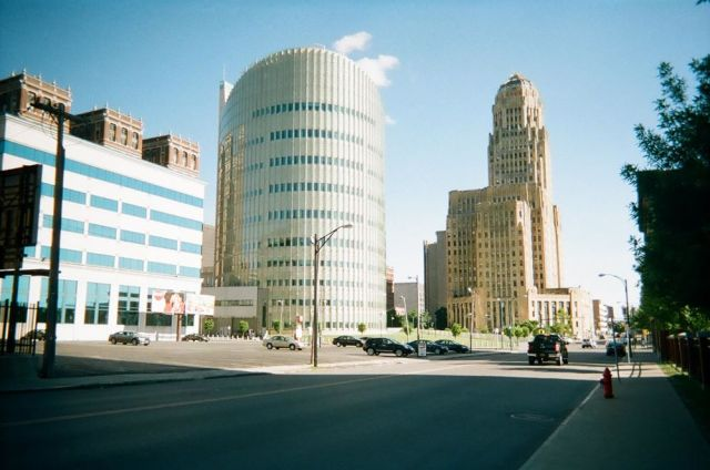 Downtown Buffalo. Taken with disposable camera.