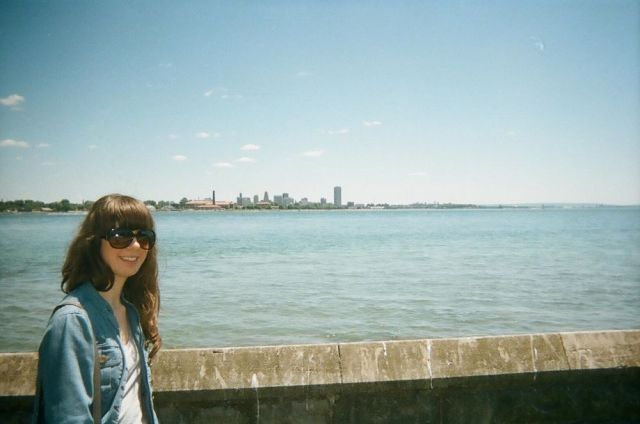 Looking back on the Buffalo skyline from Canada. Photo by Grant with disposable camera.