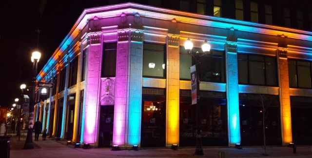 Lister Block lit up during JUNO Week