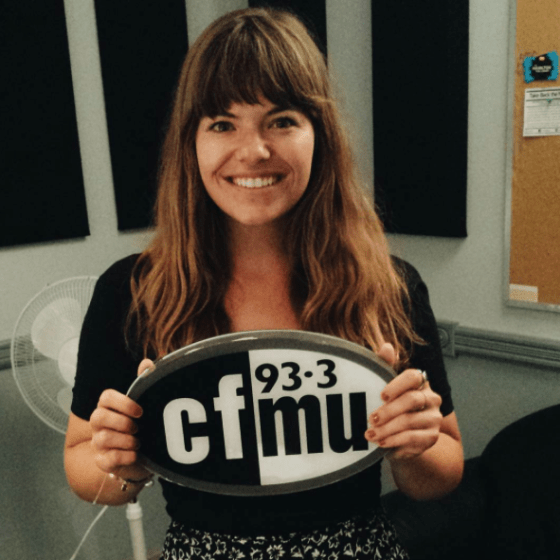Anna Wiesen of Young Lions Music Club after being interviewed on I Heart Hamilton at 93.3 CFMU