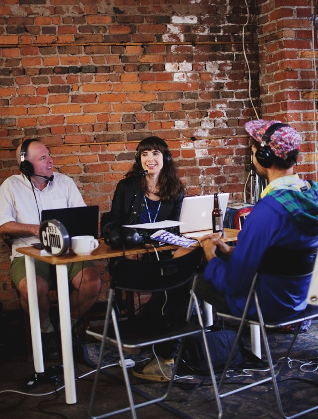 Jamie Tennant and Kristin Archer interviewing Rich Aucoin at Homegrown Hamilton during Supercrawl 2015