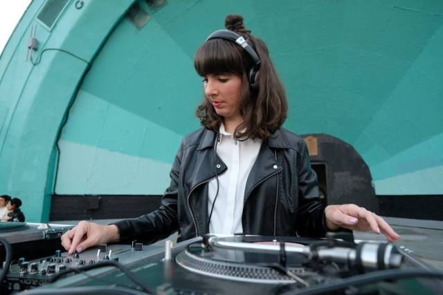 Kristin DJing Gage Park. Photo by Cyprian Estrada