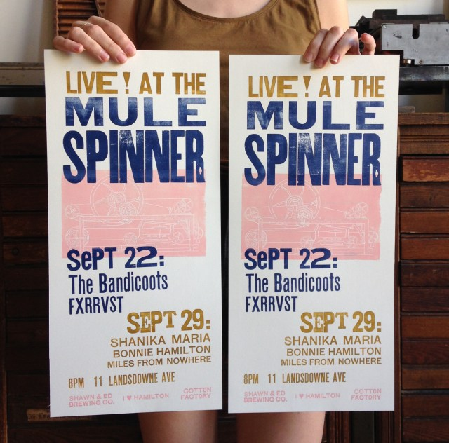 Live at The Mule Spinner. Poster by AllSortsPress.