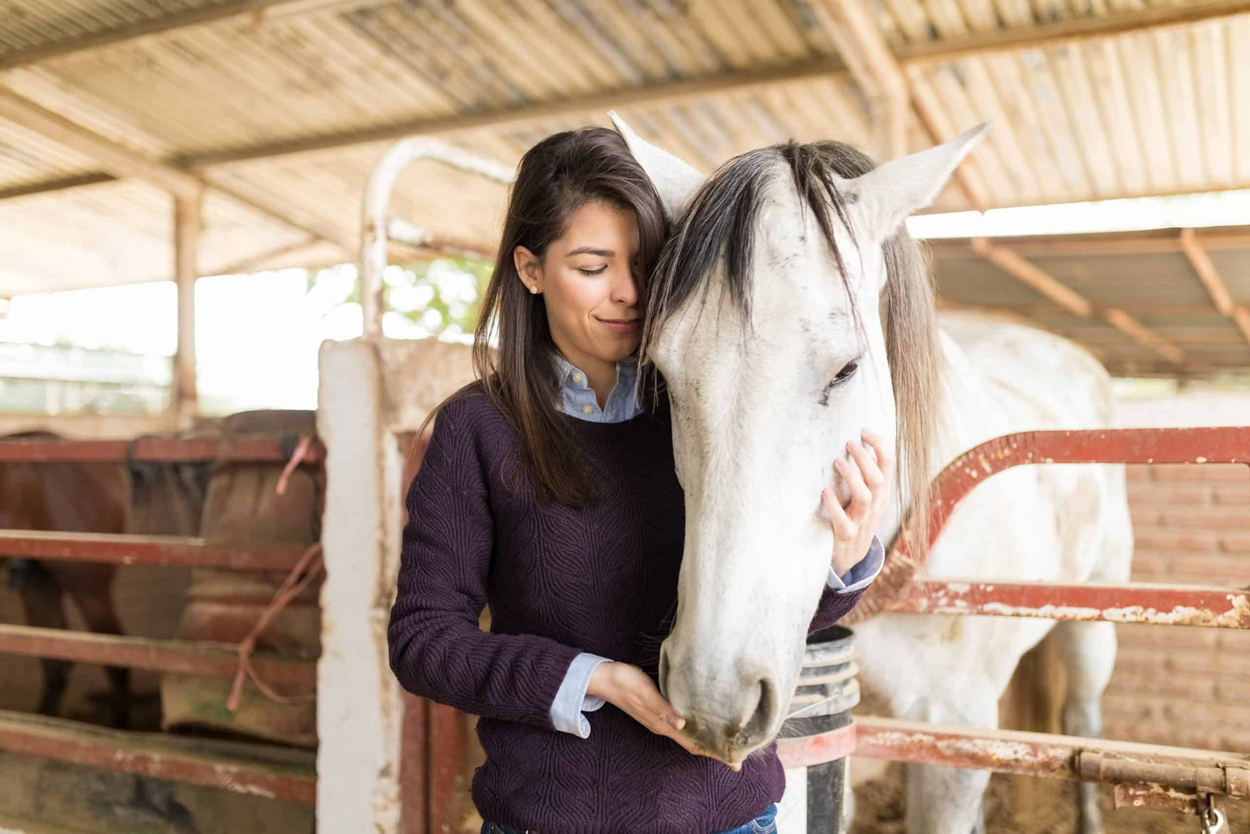 Loving mid adult woman feeding horse while standing in stable