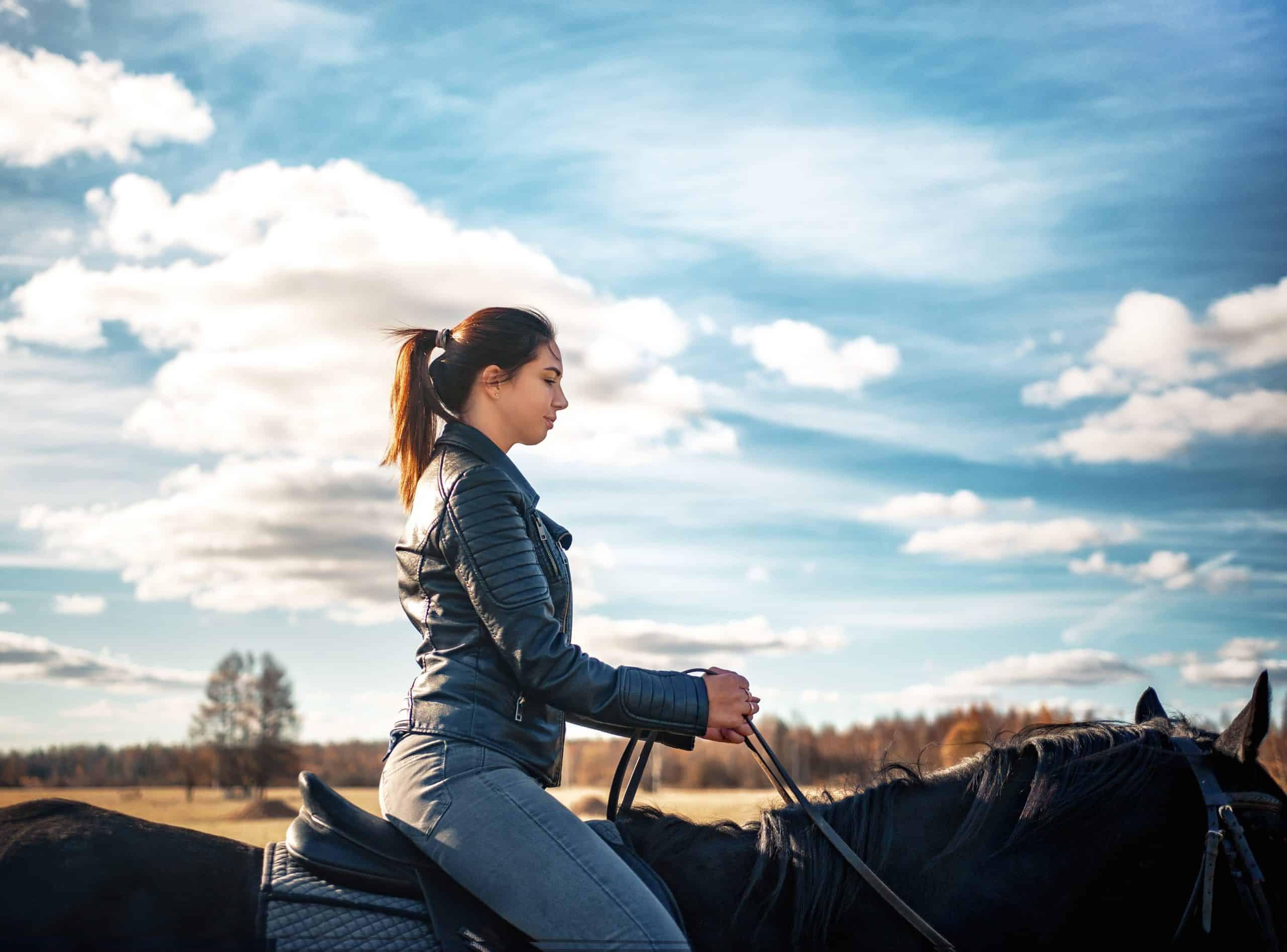 Horseback riding. Girl sitting on a black horse