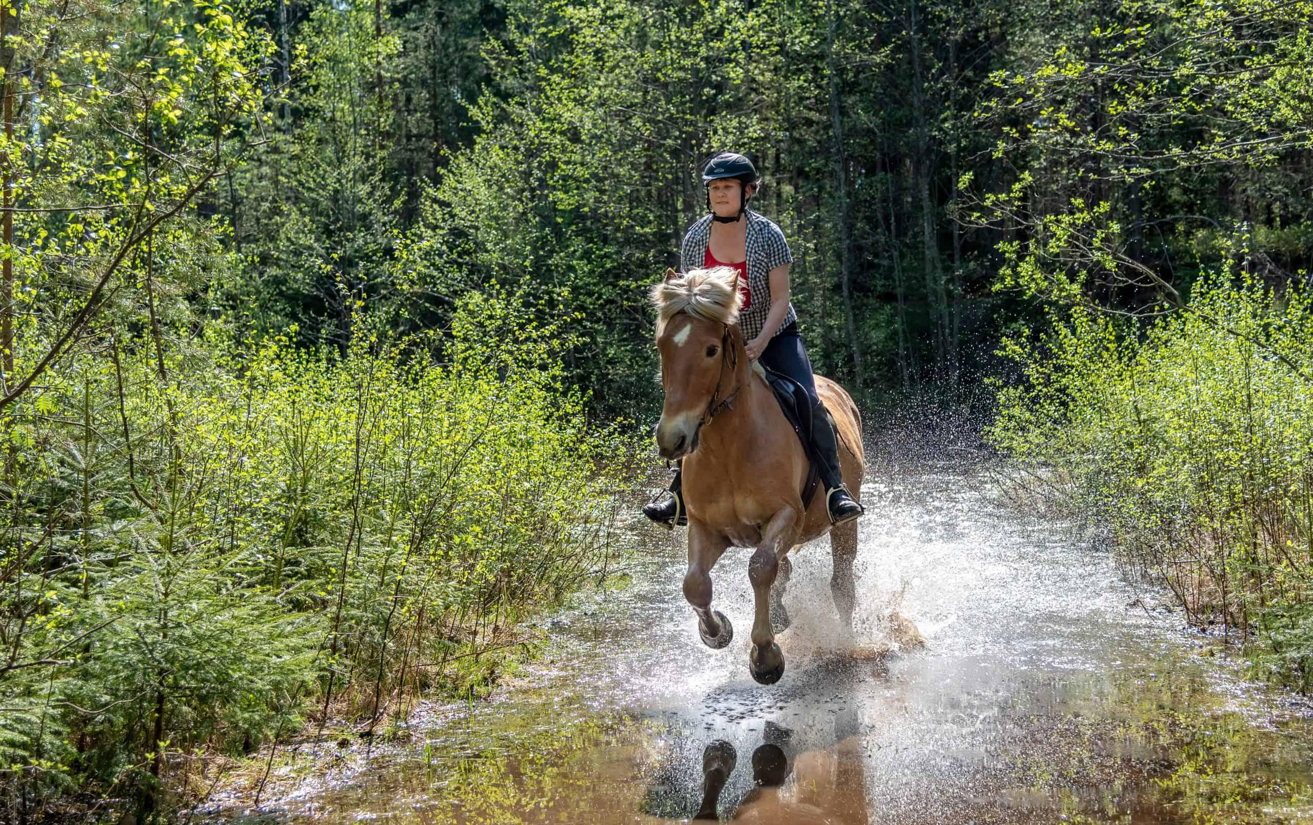 Woman horseback riding on water