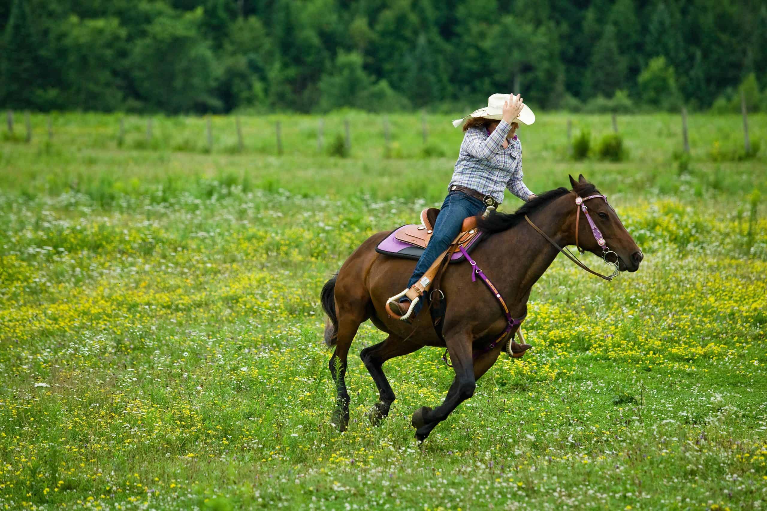 Horseback rider galloping in rural pasture