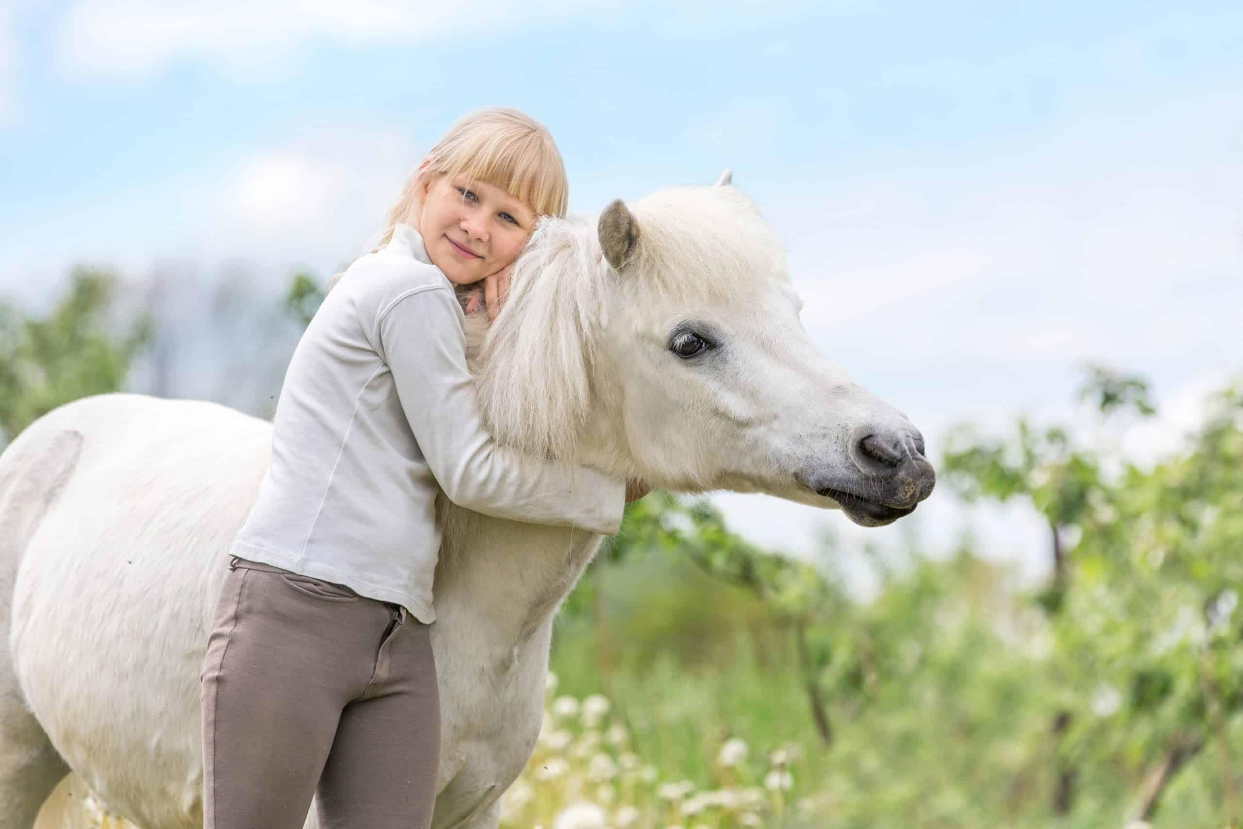 Happy young girl embracing white shetland pony.