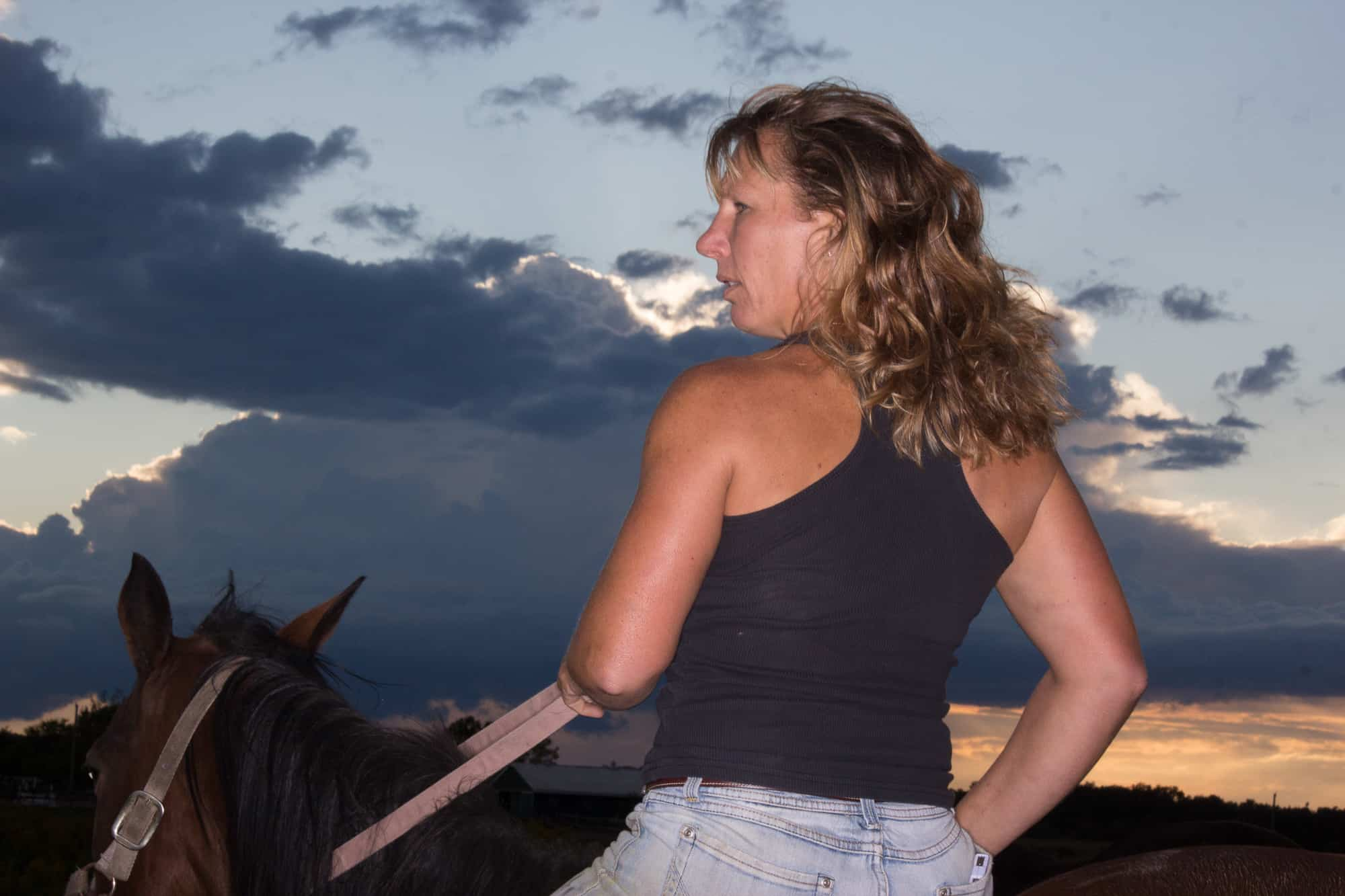 A woman ranch owner trains horses.