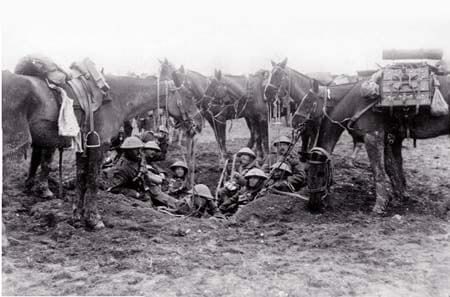Mounted troops sheltering in a shall hole. Image source: Simon Butler