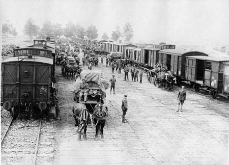 Unloading a supply train in France/ Image source: Simon Butler