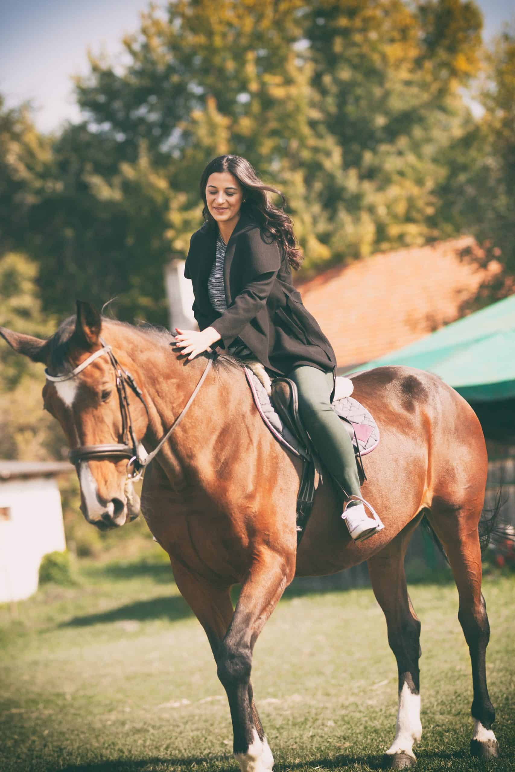 Beauty happy  woman with horse,  happy with her adore pet