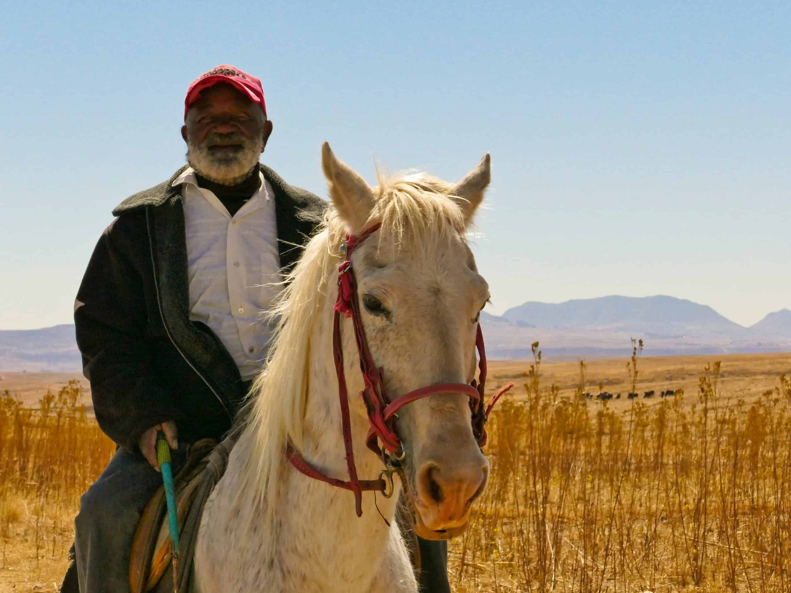 Old Basotho man on horse In the African Kingdom of Lesotho
