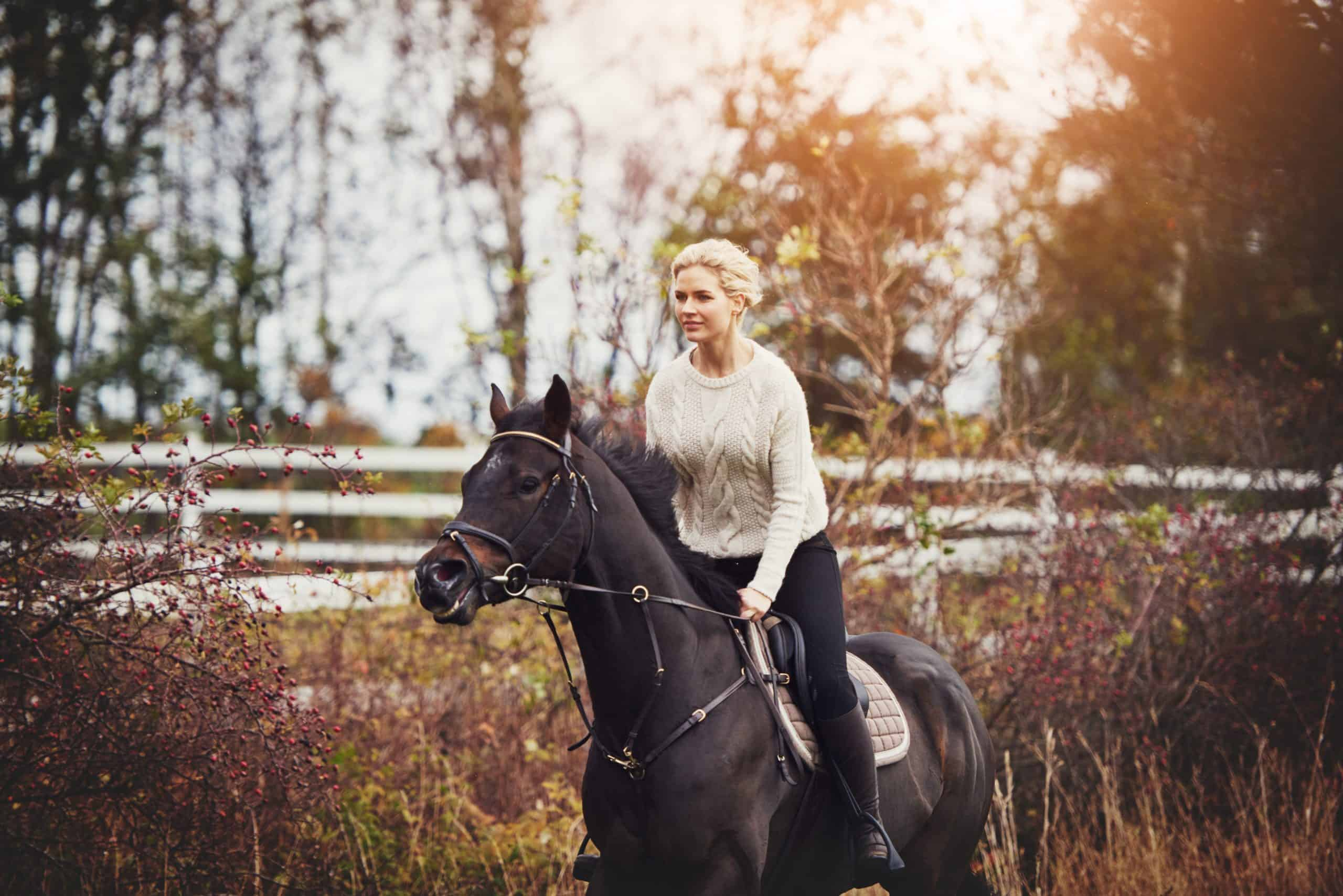 Smiling young woman in riding gear galloping her chestnut horse alone through a field in autumn