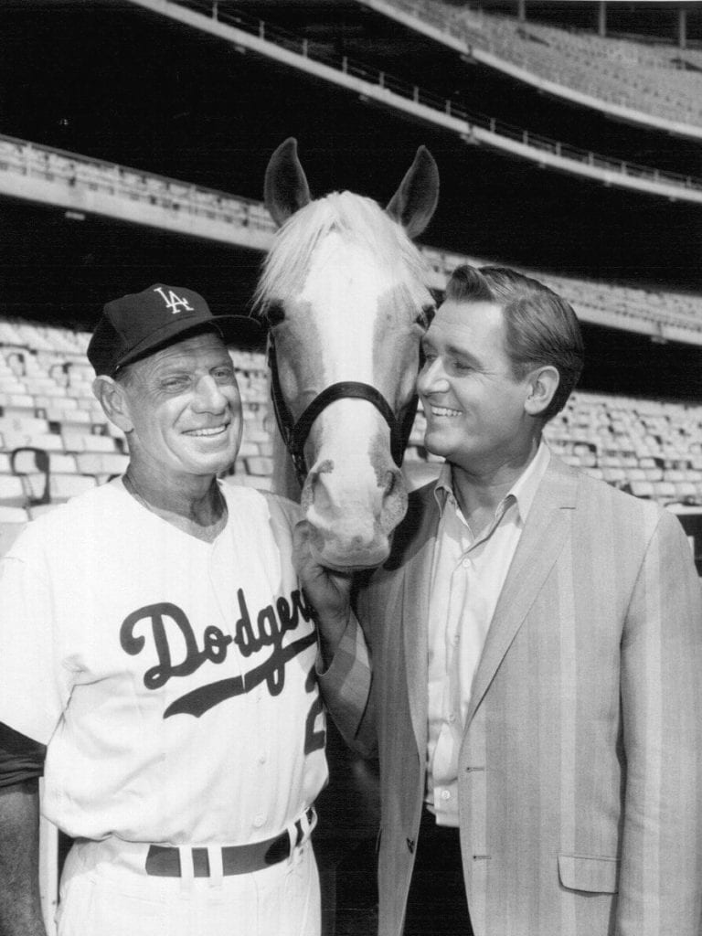 Photo of Dodgers' manager Leo Durocher, Mister Ed and Alan Young at Dodgers' Stadium.