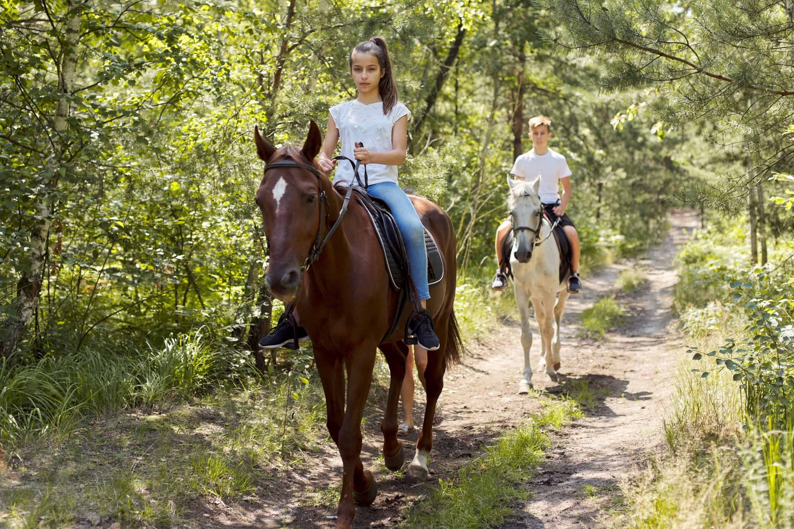 Group of teenagers on horseback riding in summer park.