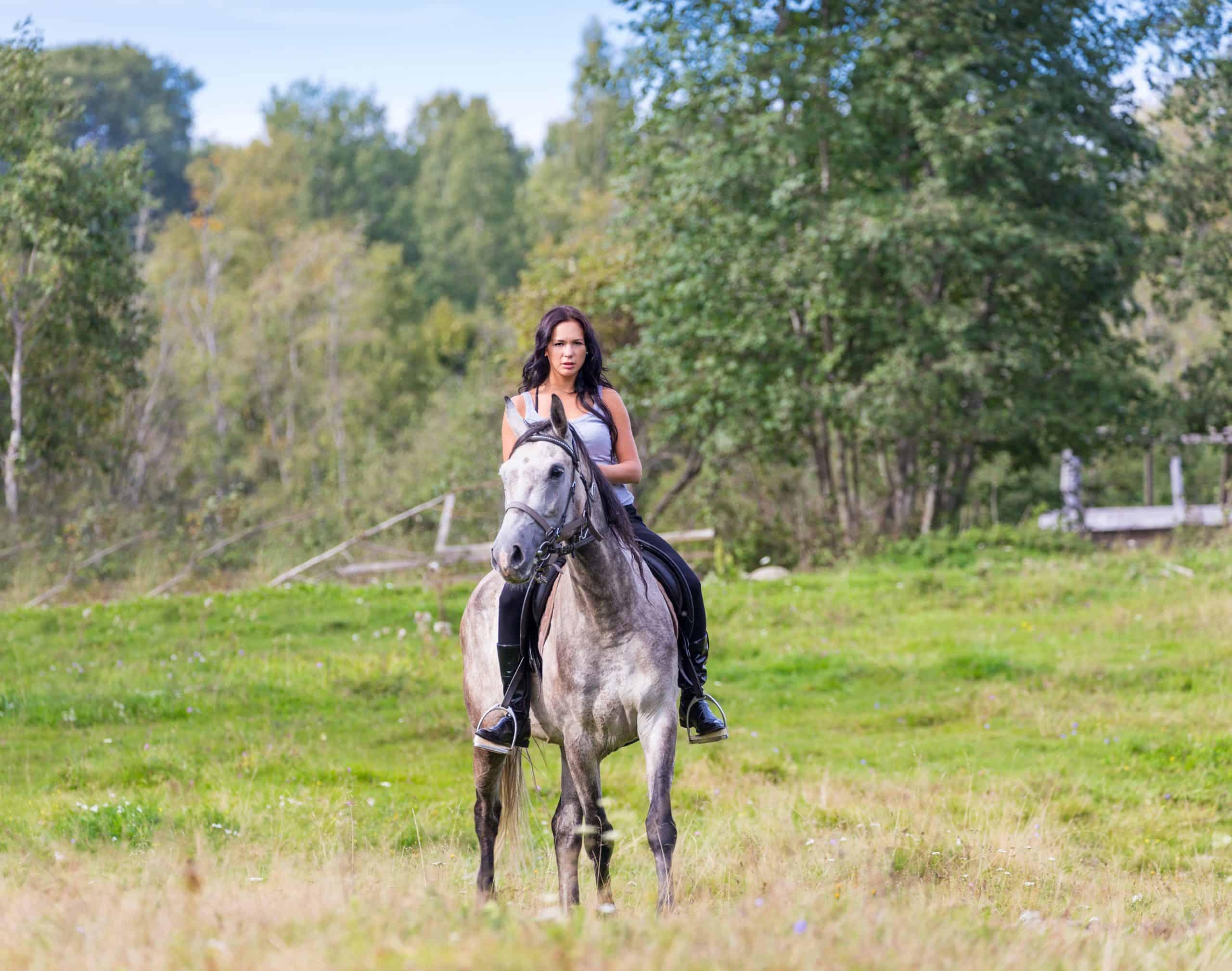 woman riding a horse farm