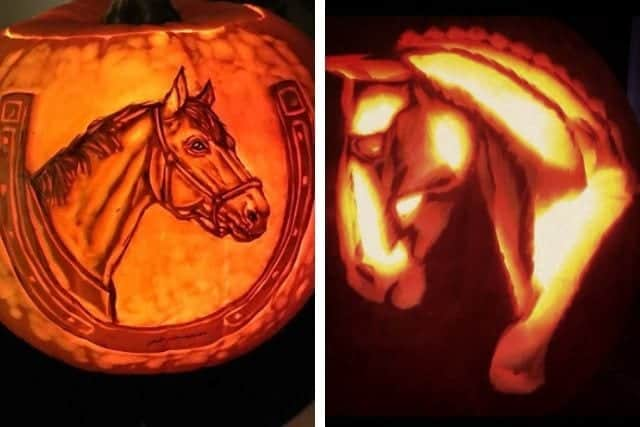 horse-themed pumpkin carving