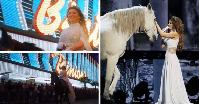 Shania Twain rides her horse