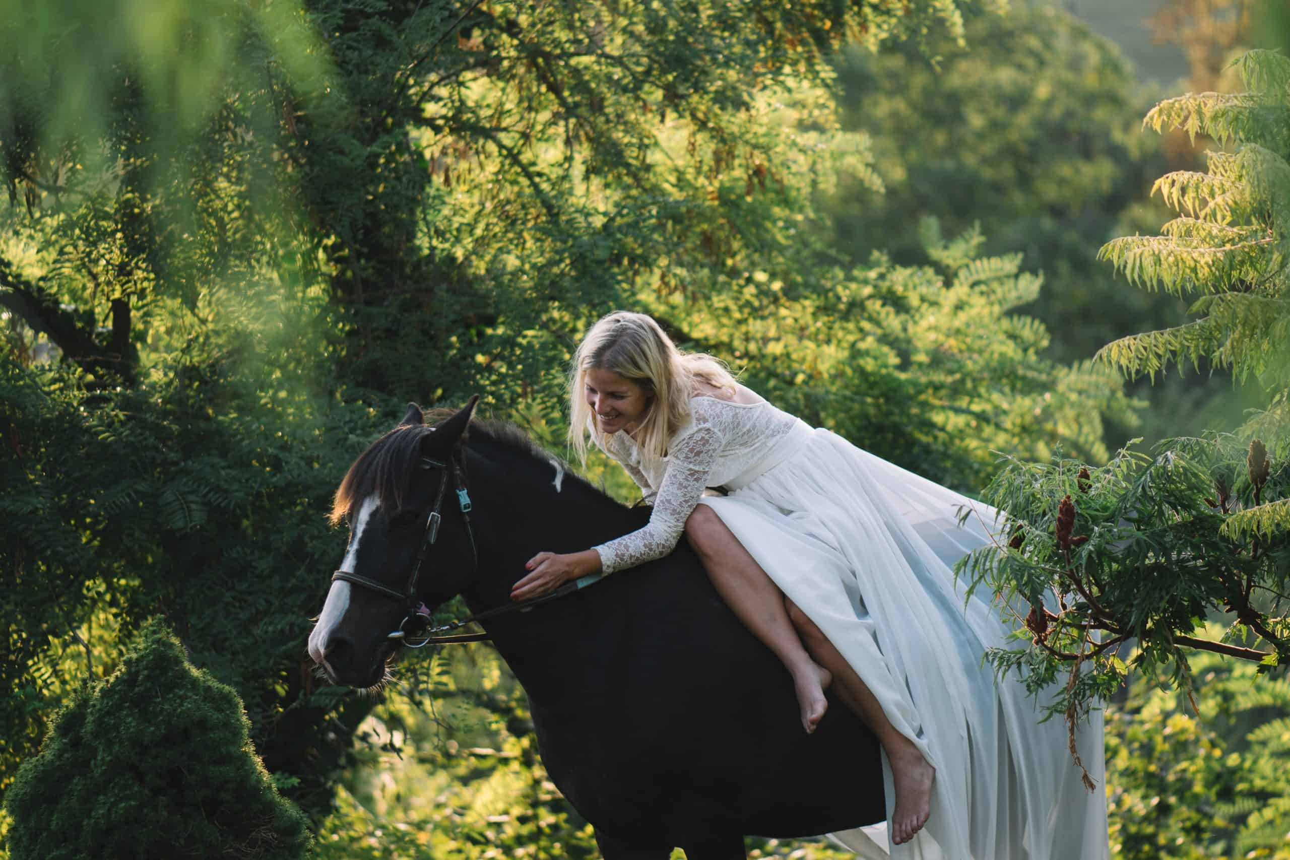 Wedding concept, bride on horse