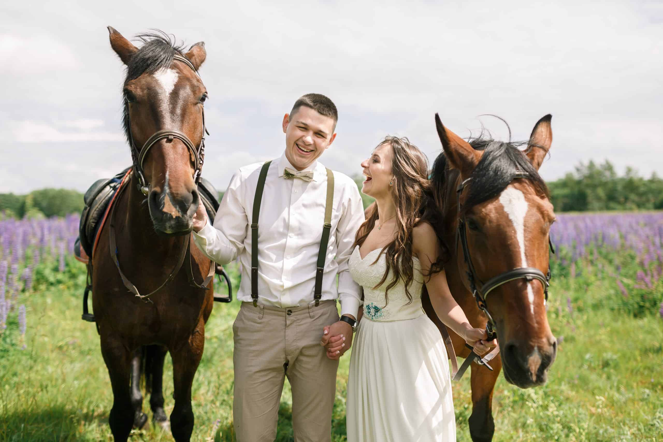 Happy wedding couple standing with horses on a field of lupine