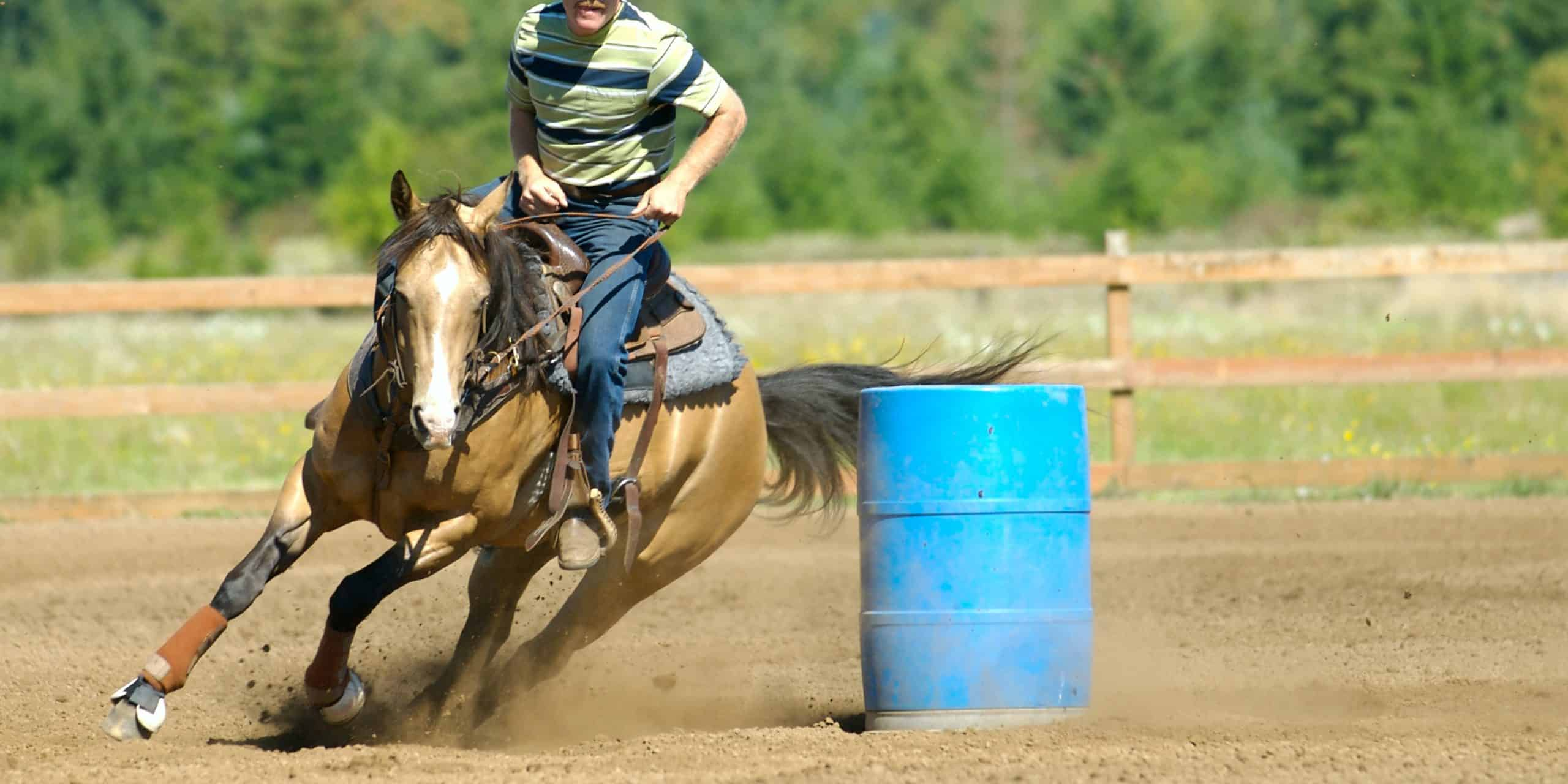 Barrel races include both male and female competitors