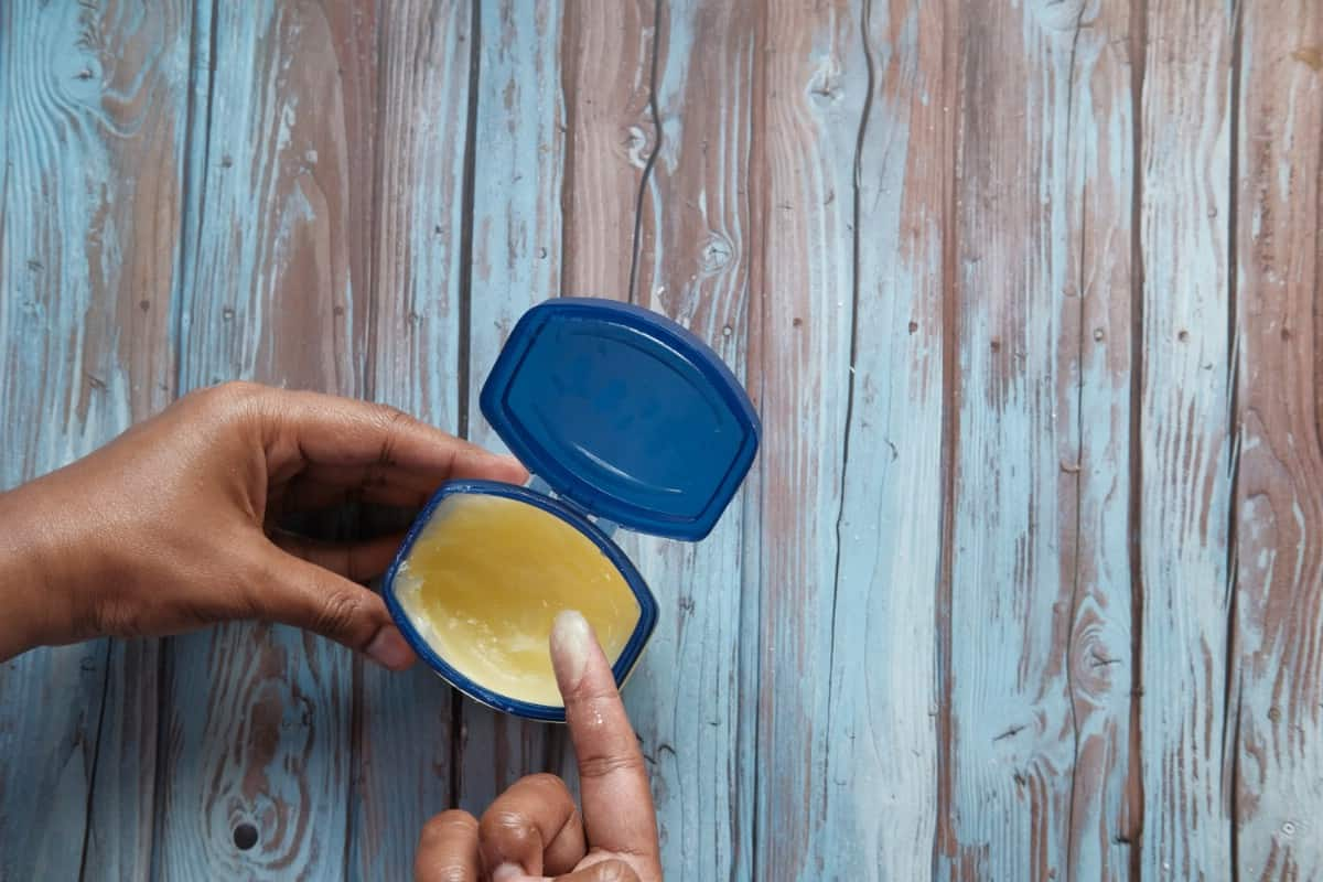 Petroleum jelly container.