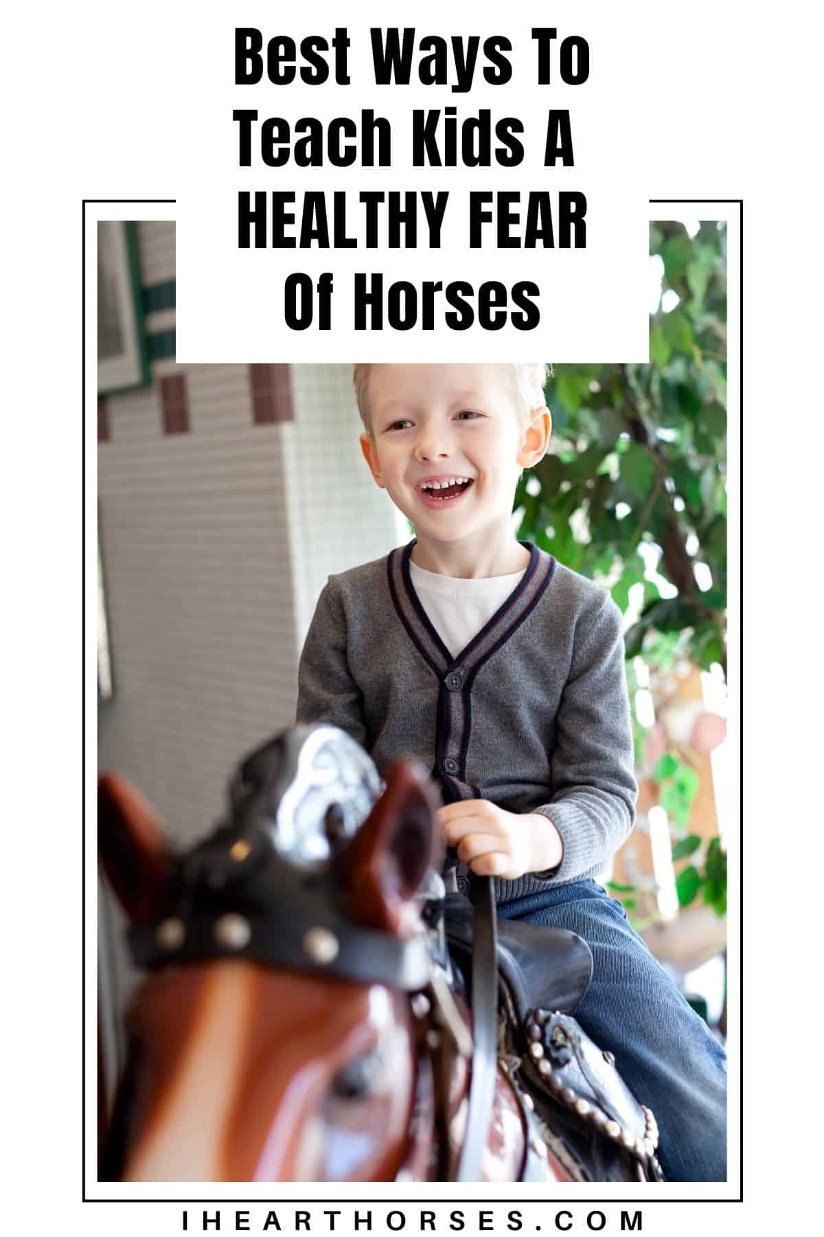 Little boy on fake horse