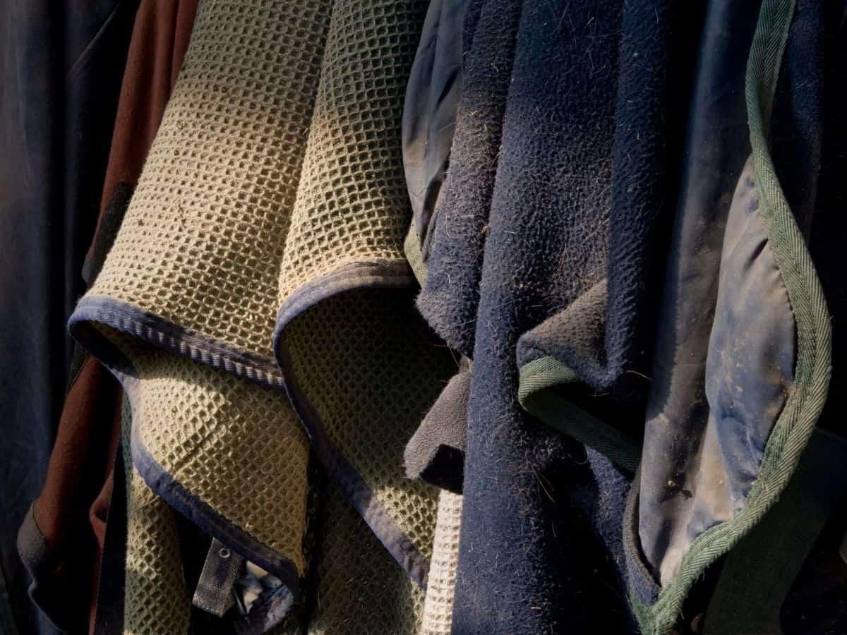 Horse blankets on hooks