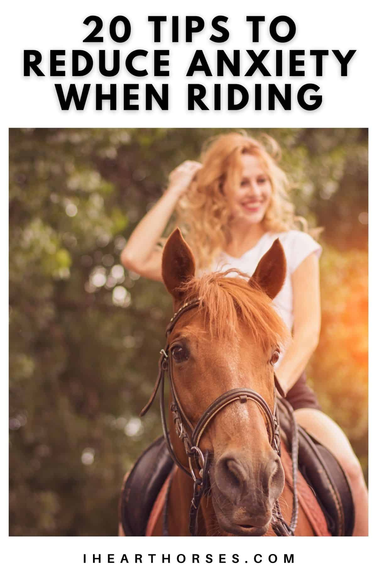 Woman smiling on brown horse