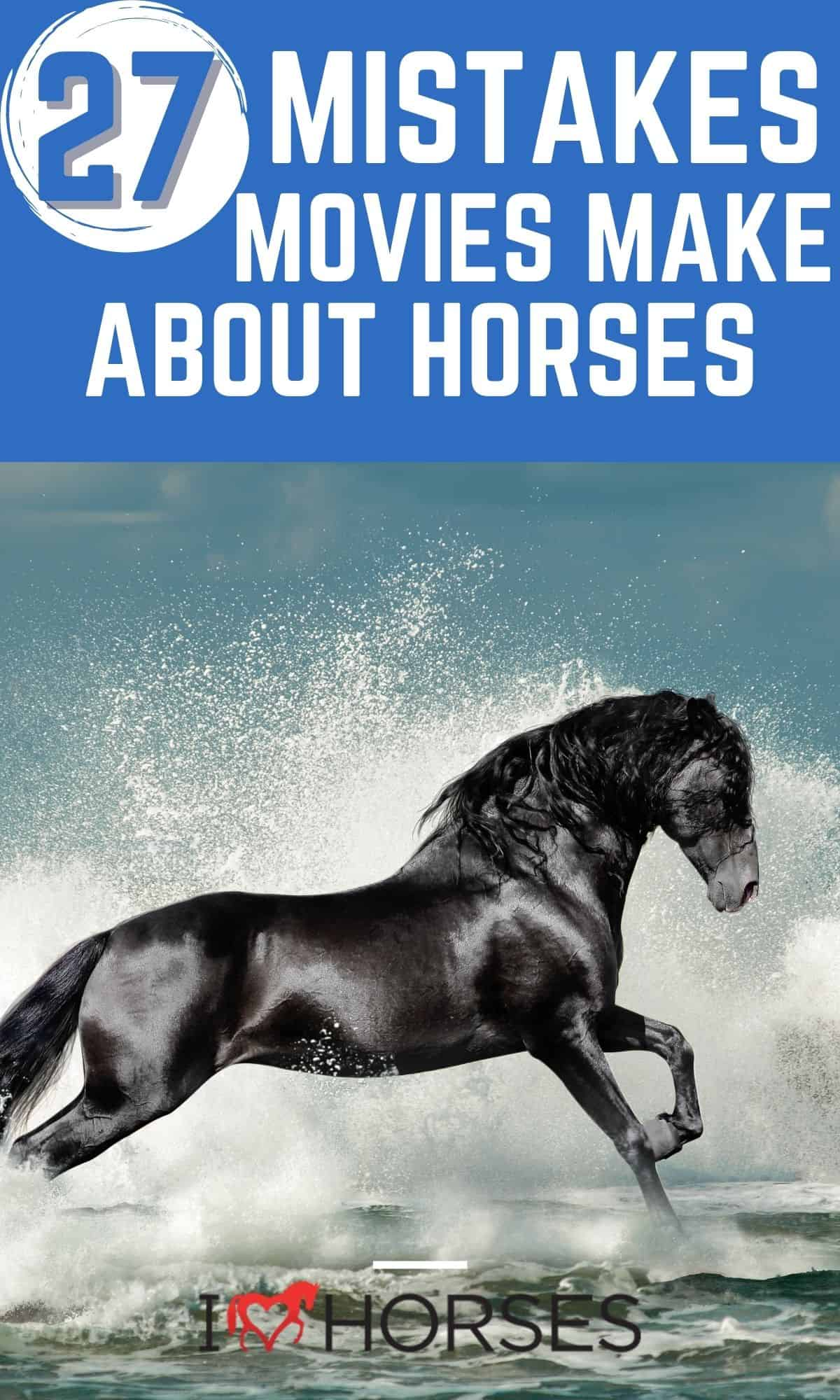 Pinterest image with title in blue overlay and black horse in water below