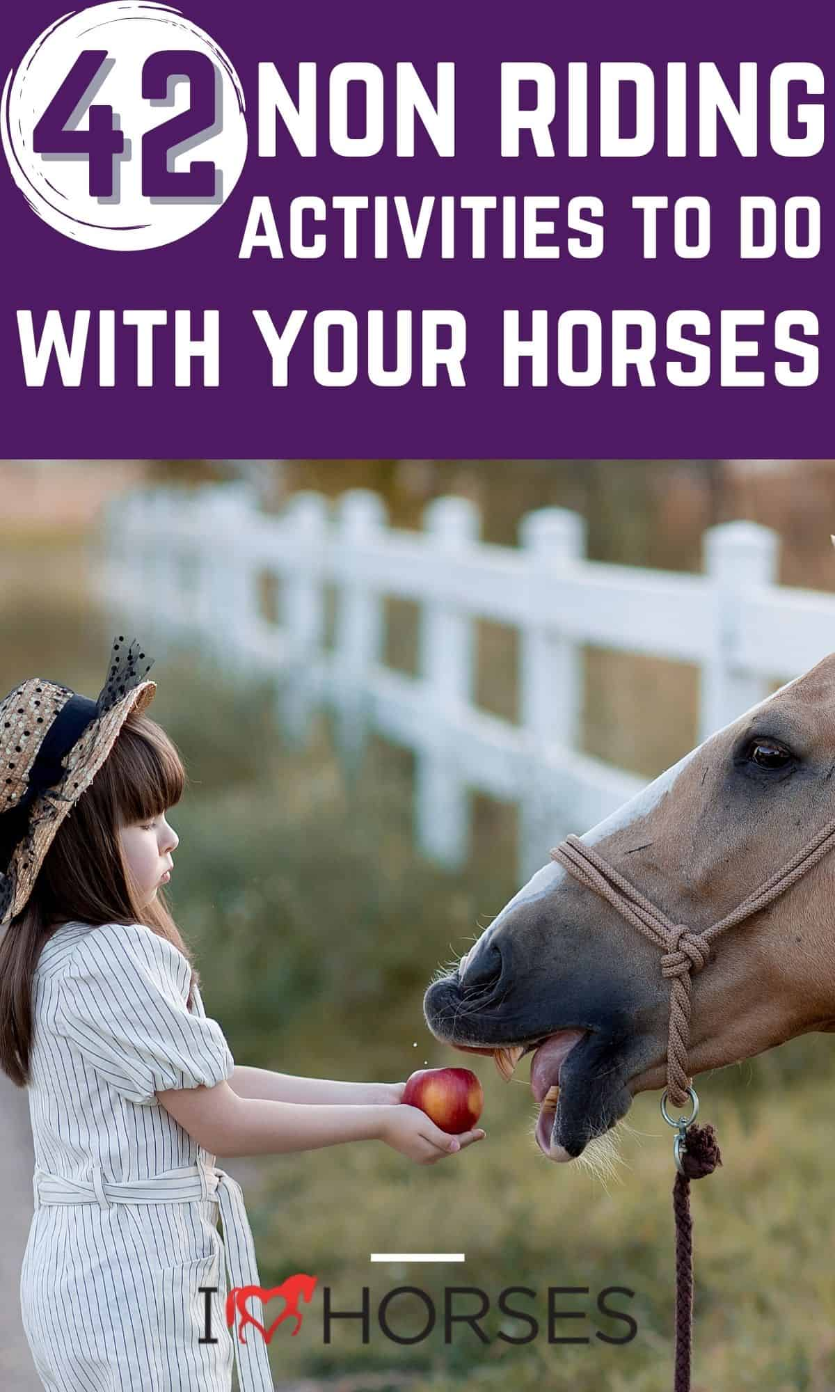 Pinterest image with purple overlay on picture of girl in white holding apple out for horse