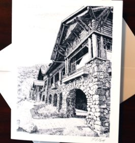 Bear Mountain Inn Pen and Ink Note Card