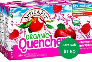 Apple and Eve Organic Quenchers Coupon Deal