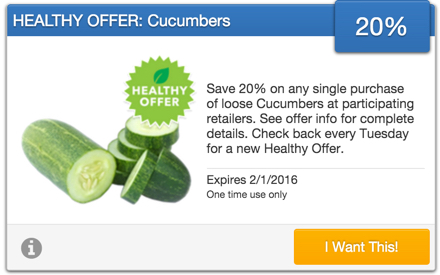 SavingStar Healthy Offer of the Week - Cucumbers