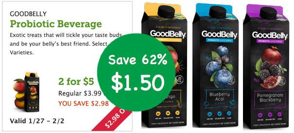 Goodbelly Probiotic Beverage Coupon Deal