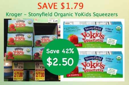 Kroger Stonyfield Organic YoKids Squeezers Coupon Deal