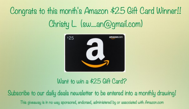 $25 Amazon Gift Card Winner January 2016