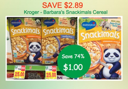Barbaras Snackimals Cereal Coupon Deal