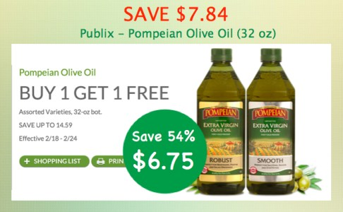 Save Up To 784 Publix Pompeian Olive Oil Coupon Deal For 645