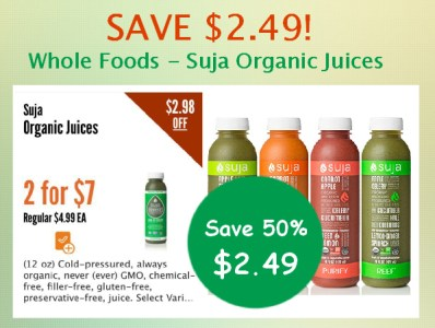 Whole Foods Suja Organic Juices Coupon Deal