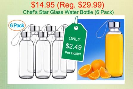 Chef's Star Glass Water Bottles
