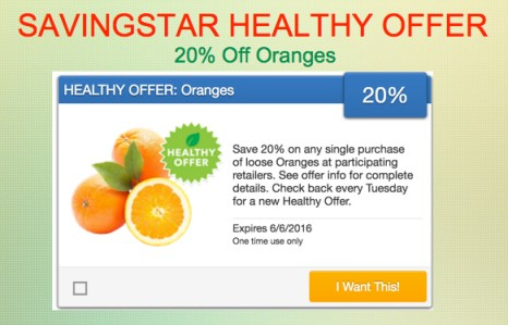 SavingStar Healthy Offer Oranges