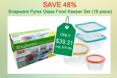 Snapware Pyrex Glass Food Keeper 19-Piece Set deal