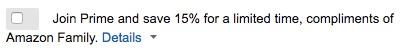 Amazon Prime 15% off